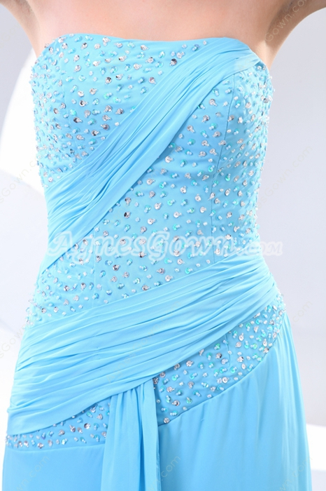 Dazzling Sheath Full Length Blue Formal Evening Dress With Beads