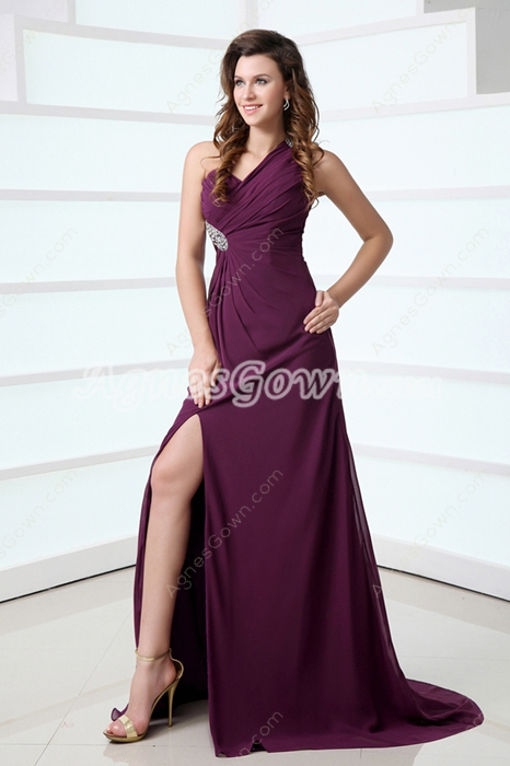 Glamour One Straps Grape Chiffon Evening Gown