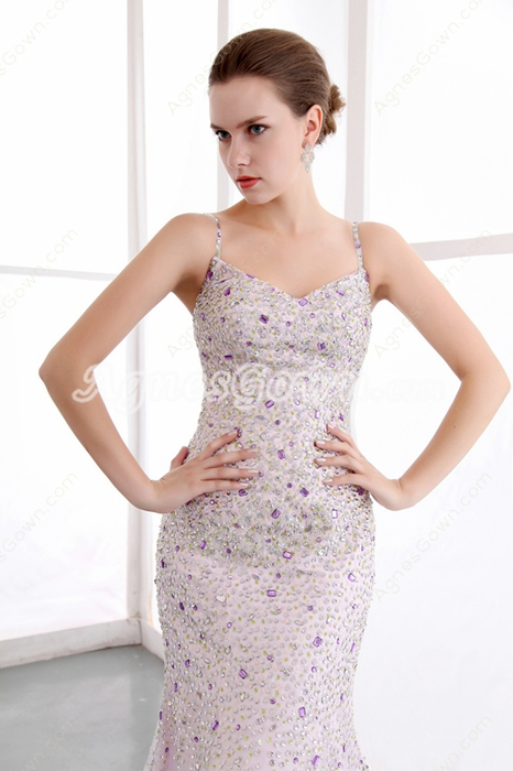 Luxury Full Length Trumpet/Mermaid Lilac Prom Dress With Heavy Beads