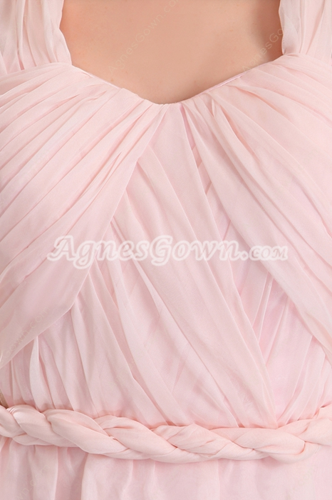 Modern Mini Length Pink Chiffon Cocktail Dress