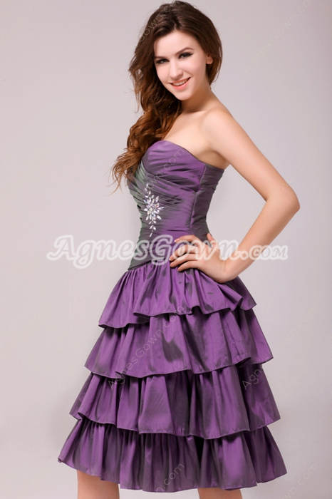 Exclusive Knee Length Purple Taffeta Sweet Sixteen Dress