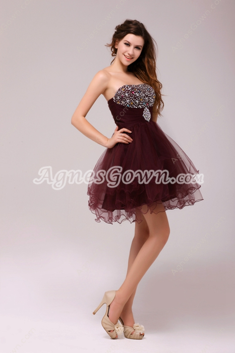 Affordable Puffy Mini Length Maroon Sweet Sixteen Dress With Great Handwork