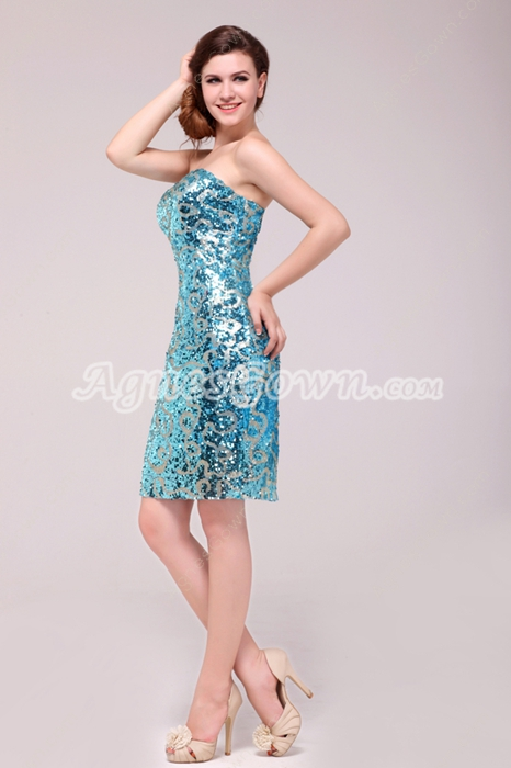 Chic Strapless Sheath Mini Length Turquoise Nightclub Dress