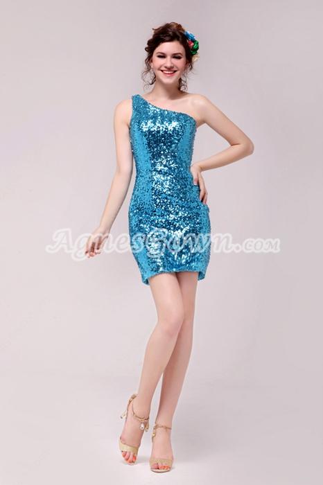 Modern Blue Sequined Sparkled Cocktail Dress