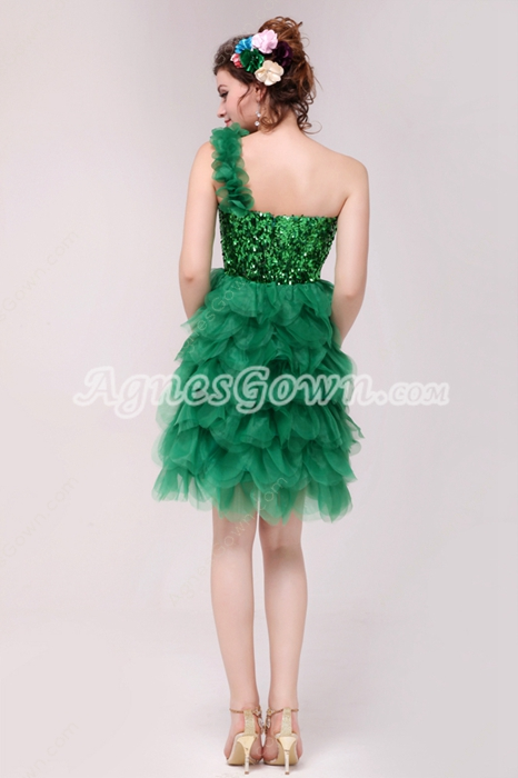 Chic One Straps Short Length Hunter Green Organza Damas Dress