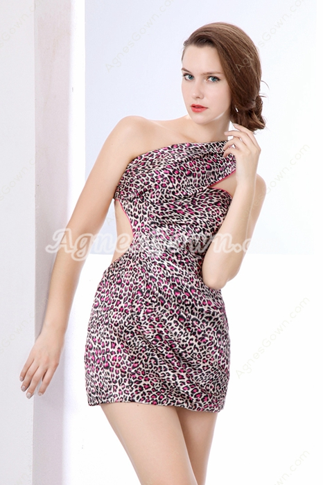 Sexy One Shoulder Fuchsia Leopard Cocktail Dress