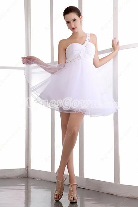 Cute One Straps Puffy White Damas Dress