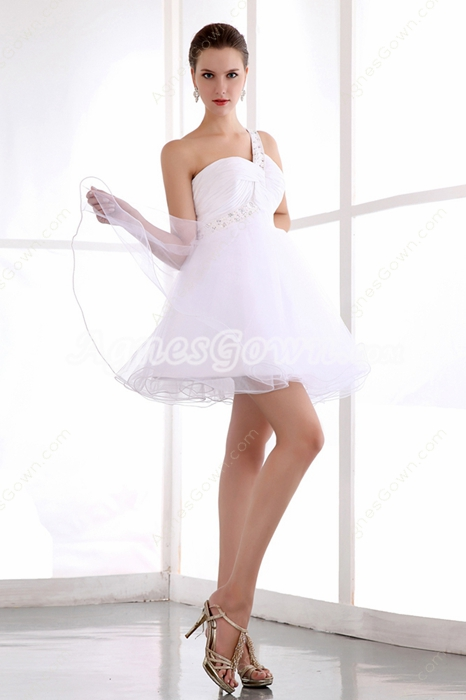 Cute One Straps Puffy White Damas Dress