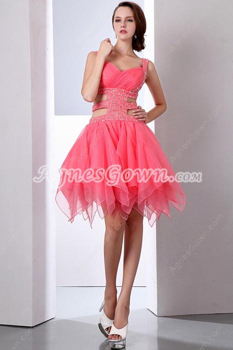 49280f7a1ad Stunning Double Straps Puffy Organza Watermelon Damas Dress ...