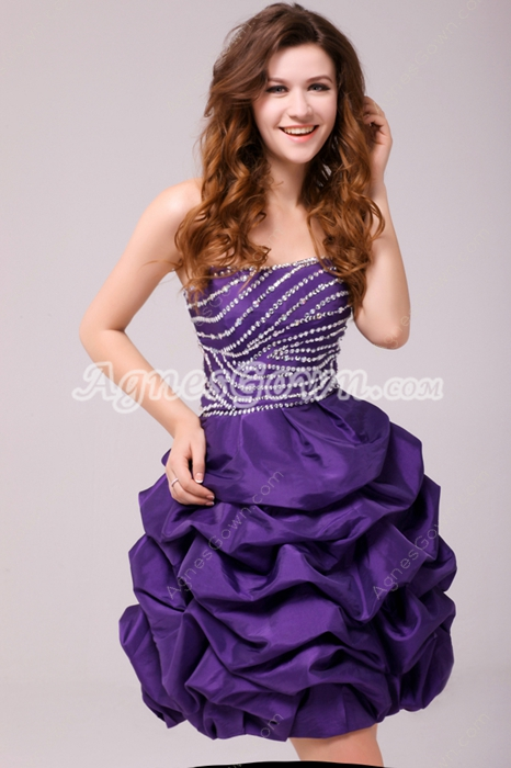 Puffy Mini Length Violet Taffeta Damas Dress With Sequins
