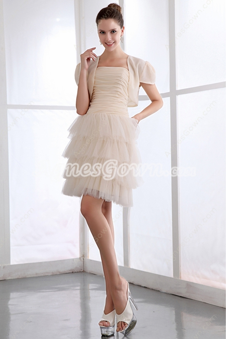 Classy Short Length Champagne Damas Dress With Jacket