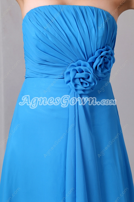 Sassy Strapless Turquoise Bridesmaid Dress With Handmade Flowers