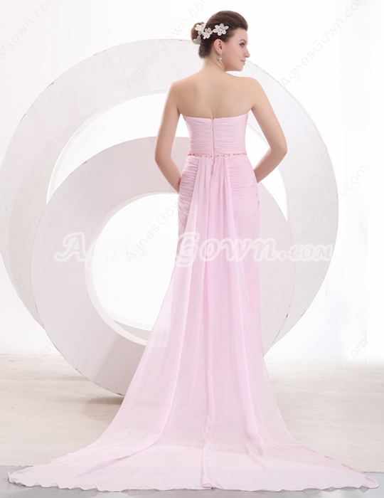 Delicate Sweetheart A-line Pink Chiffon Engagement Dress