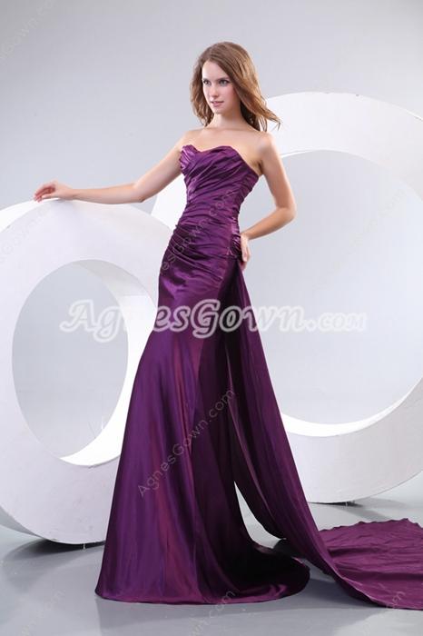 Modest Satin A-line Purple Prom Dress