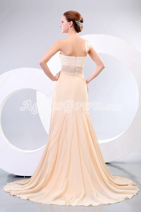 Sweetheart Champagne Pageant Prom Dress With Beads