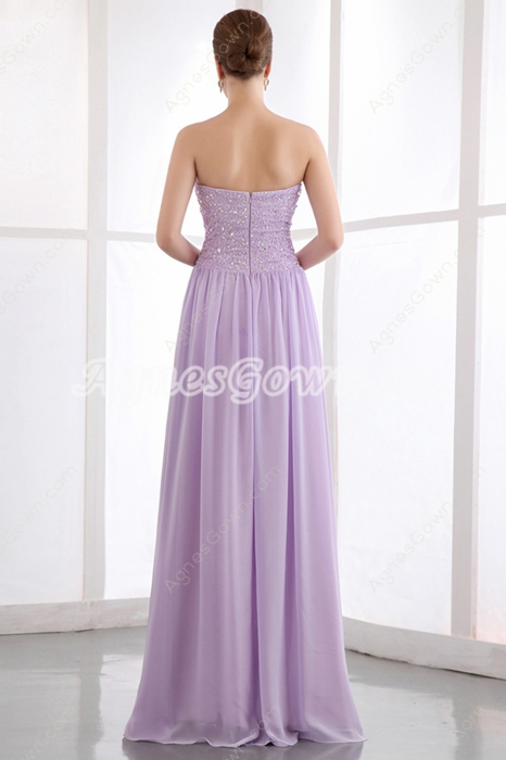 Sassy A-line Full Length Lilac Chiffon Prom Party Dress