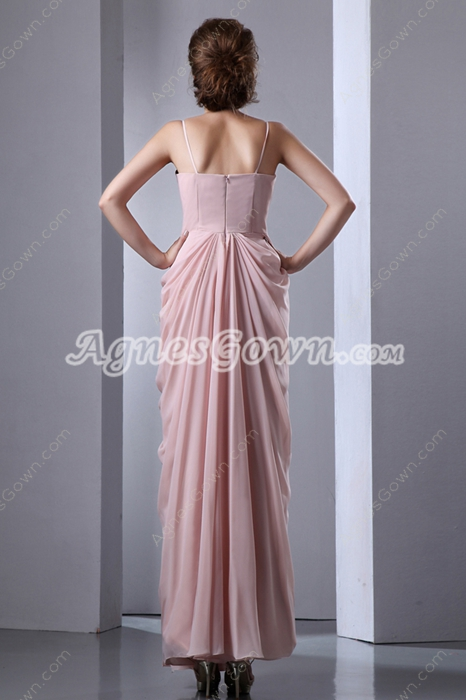 Noble Spaghetti Straps Ankle Length Pink Prom Dress