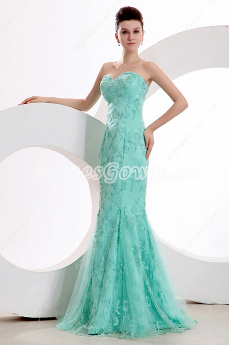 Romantic Sheath Full Length Tiffany Blue Lace Evening Dress