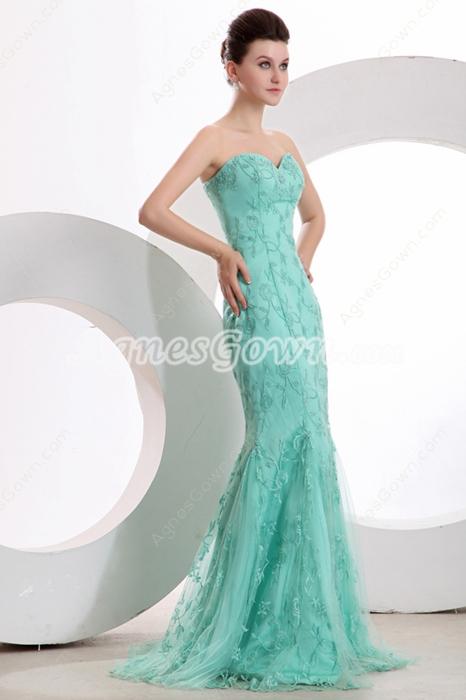 Romantic Sheath Full Length Tiffany Blue Lace Evening Dress
