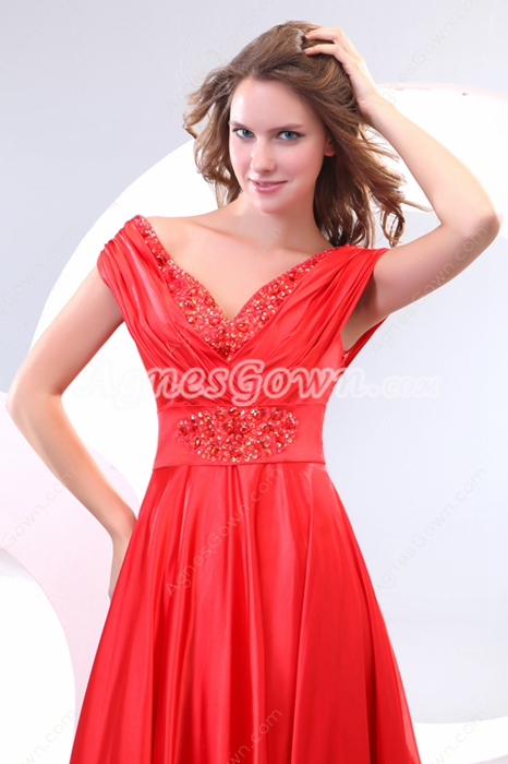 Charming Off The Shoulder Red Satin Mother Of The Bride Dress
