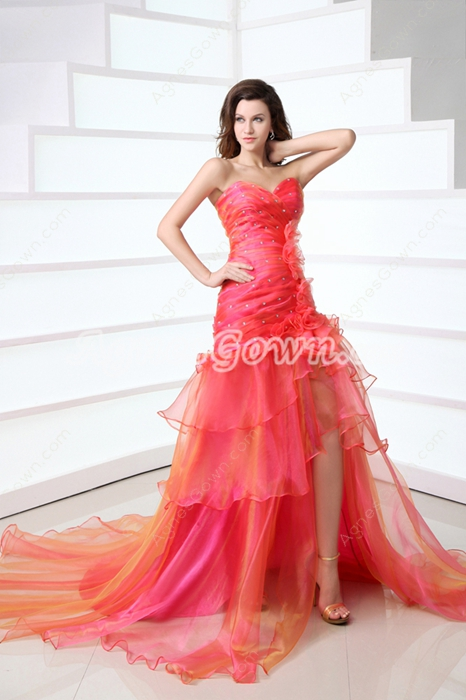 Colorful Orange & Fuchsia Rainbow Prom Dress Front Slit