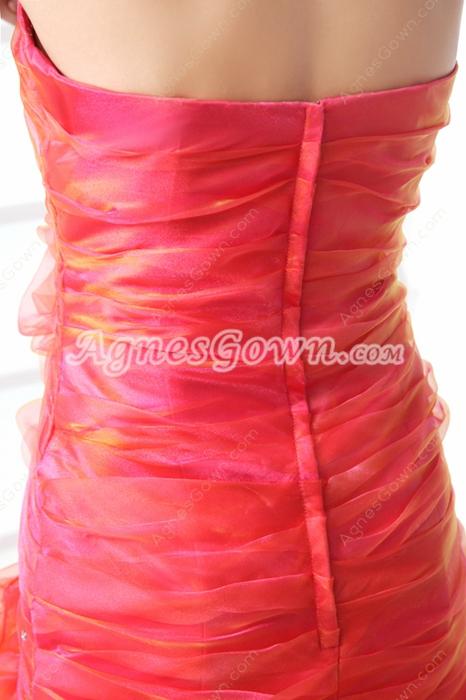 Colorful Orange & Fuchsia Rainbow Prom Dress Front Slit