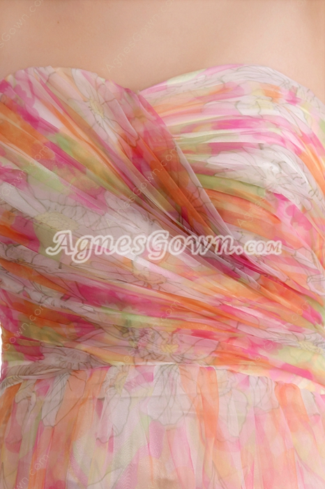 Exquisite A-line Full Length Rainbow Prom Dress