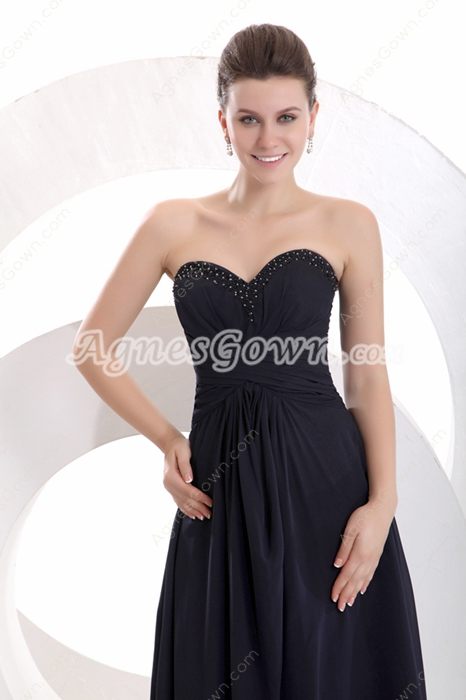 Ankle Length Dark Navy Chiffon Junior Prom Dress