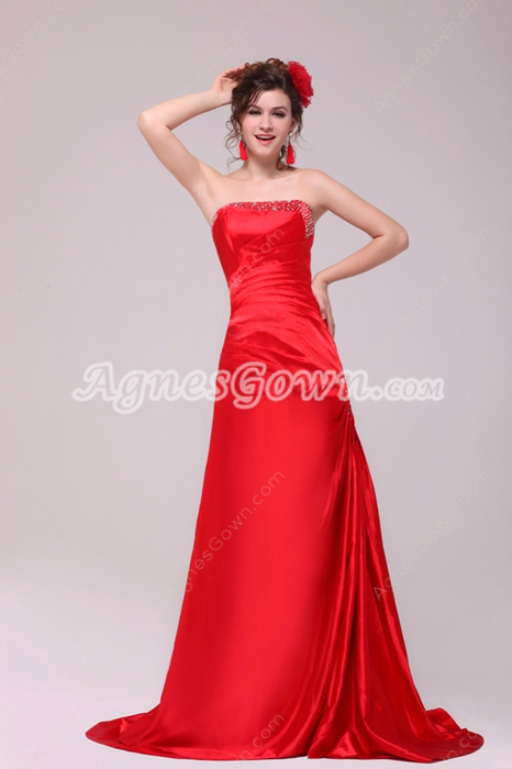 Strapless A-line Red Satin Long Formal Evening Dress Dropped Waist