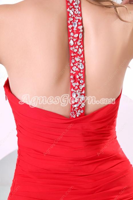 Attractive Top Halter Red Chiffon Celebrity Evening Dress