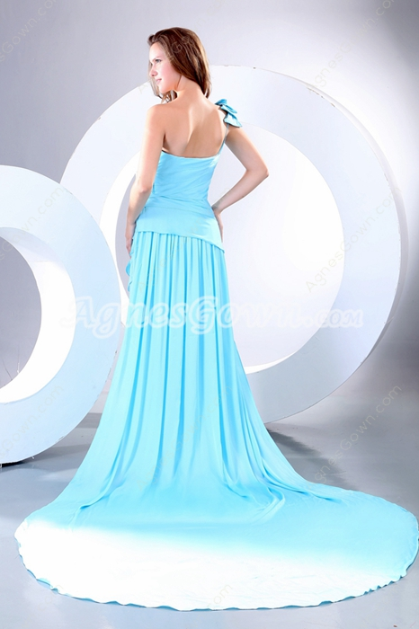 Gorgeous One Shoulder Blue Satin Prom Dress 2016