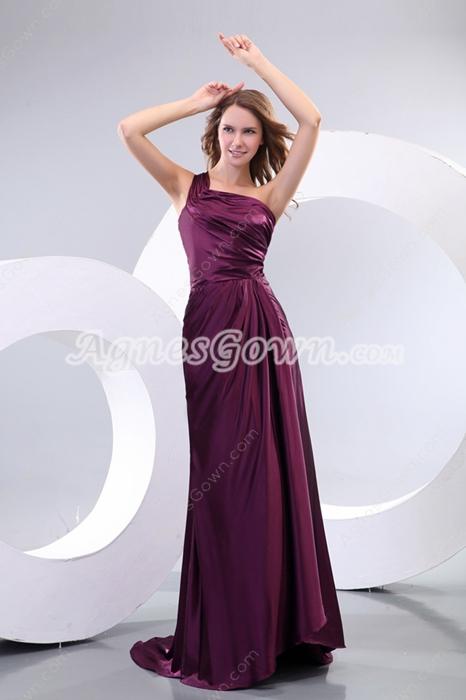 Elegance One Straps Grape Satin Formal Evening Dress