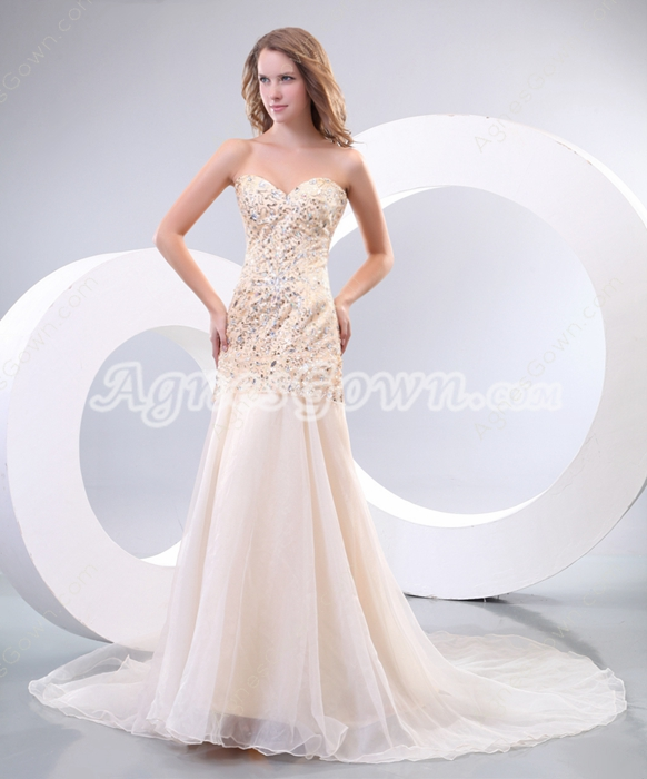 Flattering A-line Champagne Organza Pageant Dress With Beads