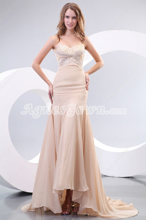 Gentle Sweetheart Sheath Full Length Champagne Prom Party Dress