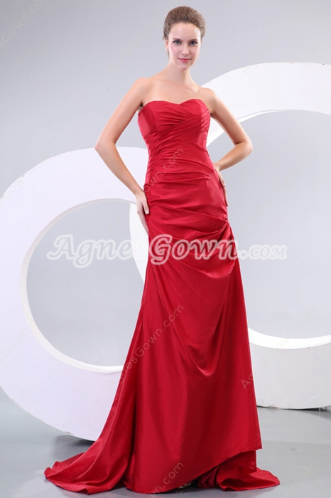 Sweetheart A-line Red Taffeta Pageant Prom Dress