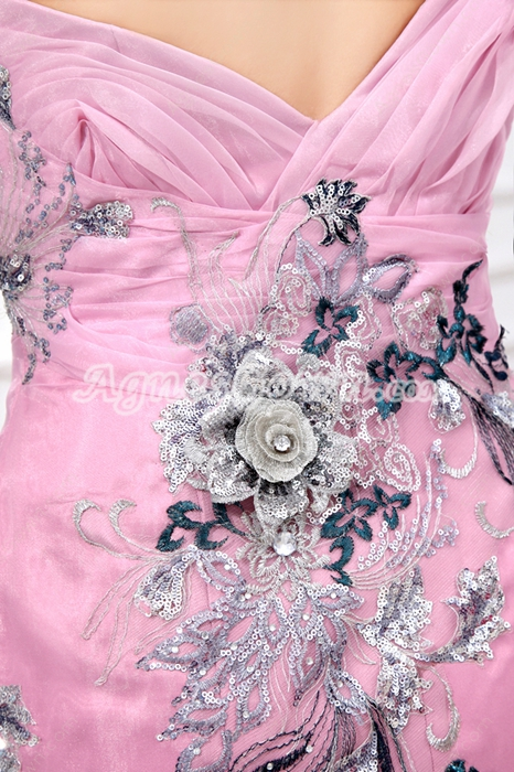 glamour one Straps Sheath Pink Organza Celebrity Evening Dress