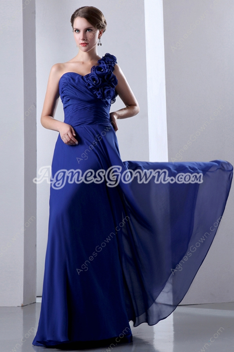 Charming One Straps Royal Blue Chiffon Engagement Evening Dress