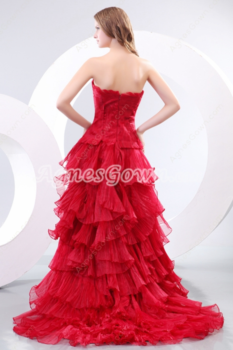 Gothic Red Wedding Dress Multi Ruffled