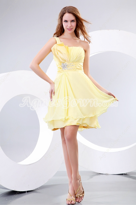 Sassy One Straps Mini Length Yellow Junior Graduation Dress