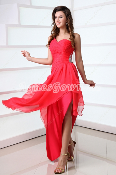 Affordable One Shoulder Watermelon High Low 8th Grade Graduation Dress