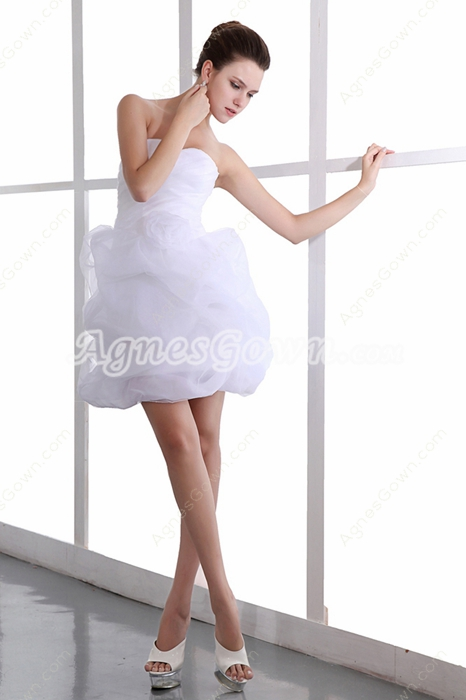 Sassy Sweetheart Puffy White Organza Damas Dress
