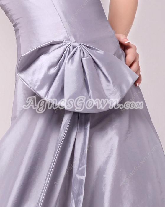 Magical Strapless Column Silver Grey Prom Dress With Bowknot