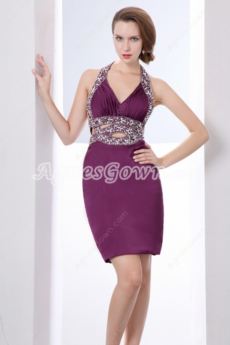 Modern Halter Mini Length Purple Wedding Guest Dress