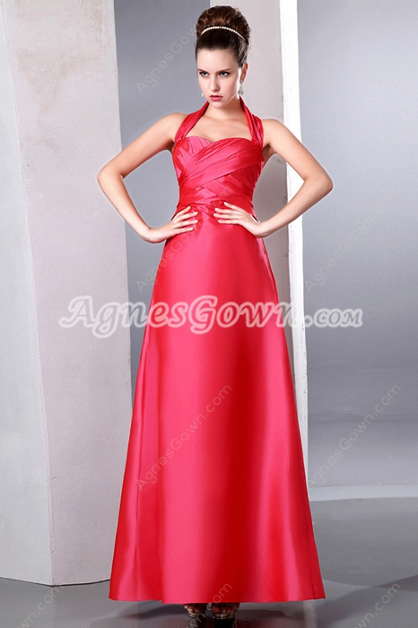 Graceful Top Halter Ankle Length College Graduation Dress