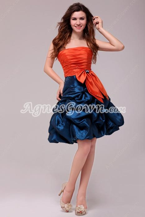 Modern Orange & Royal Blue Mini Length Sweet 16 Dress