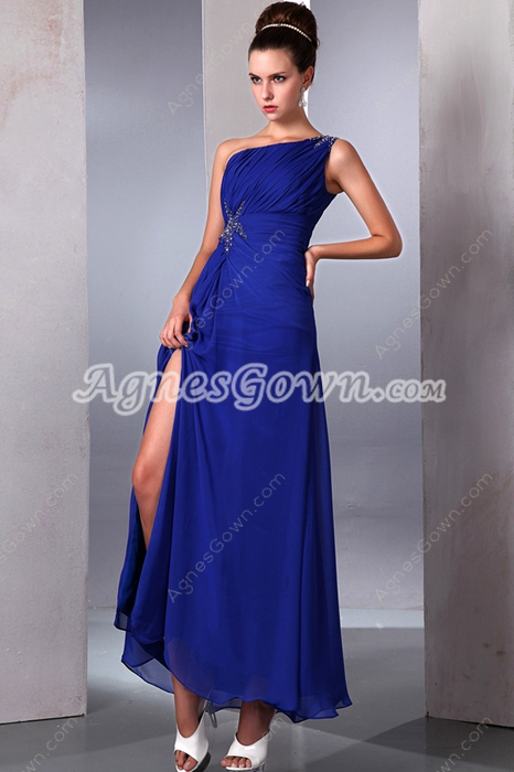 Ankle Length One Shoulder Royal Blue High School Graduation Dress