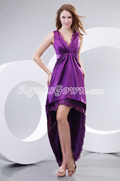 Fantastic V-Neckline Sheath Purple Prom Dress