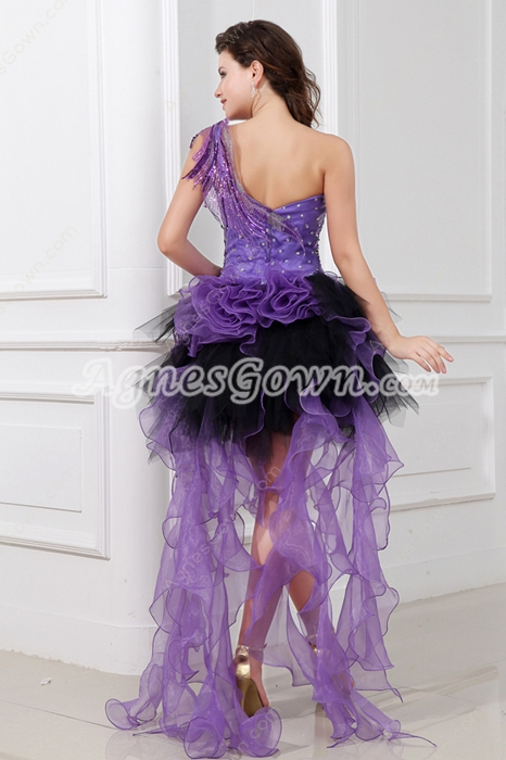 modern one Shoulder Purple & Black Sweet Sixteen Dress With Feather