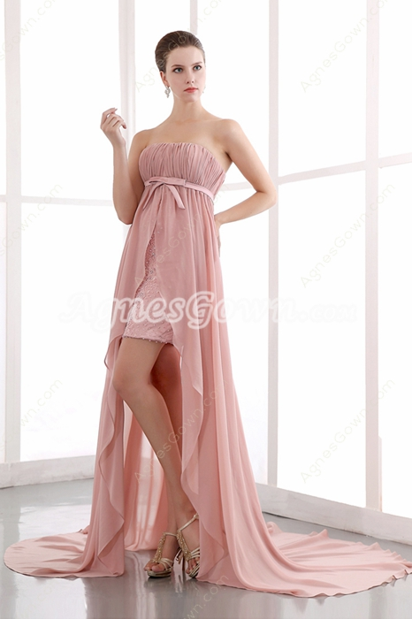 Delicate Chiffon Dusty Rose High Low Junior Prom Dress