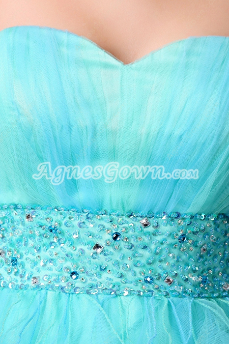 Adorable Sweetheart Blue Tulle Sweet Sixteen Dress